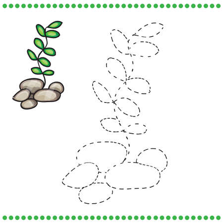 brainteaser: Connect the dots and coloring page - grass