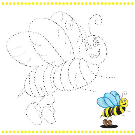Connect the dots and coloring page - bee Vector