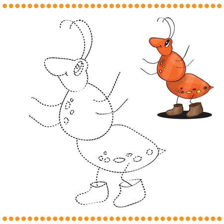 hormiga caricatura: Une los puntos y Colorear - Historieta de la hormiga