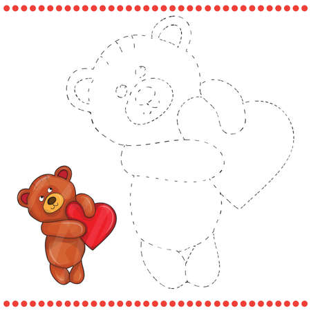 Connect the dots and coloring page - teddy bear Vector