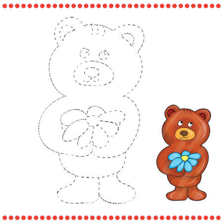 invasive: Connect the dots and coloring page - teddy bear