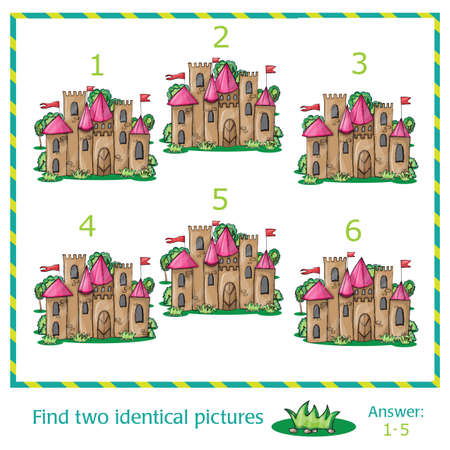 identical: Find two identical pictures of vector castle Illustration