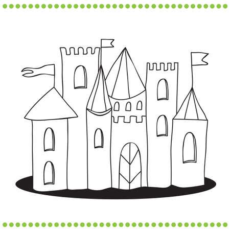 Coloring book - Line Art Illustration of a Castle Vector