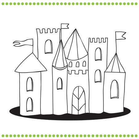 Coloring book - Line Art Illustration of a Castle Ilustração