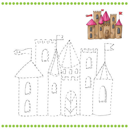 Connect the dots and coloring page - castle Stock Illustratie