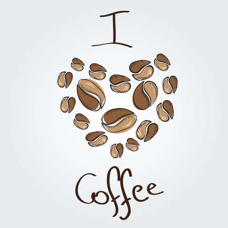 I love coffee. Coffee beans heart - vector Vector