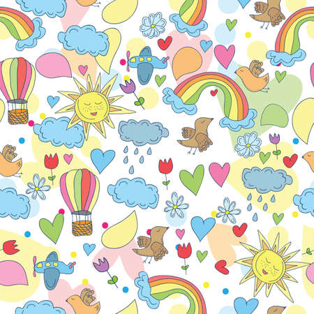 Doodle seamless patternan - Sky, sun, rainbow and clouds, plane and hot air balloons Vector