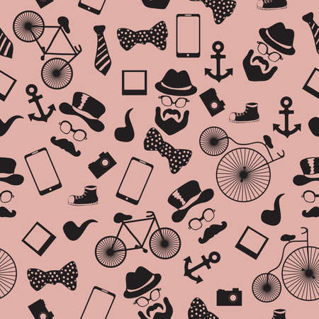 dali: Seamless vector pattern in hipster style background or texture for design Illustration