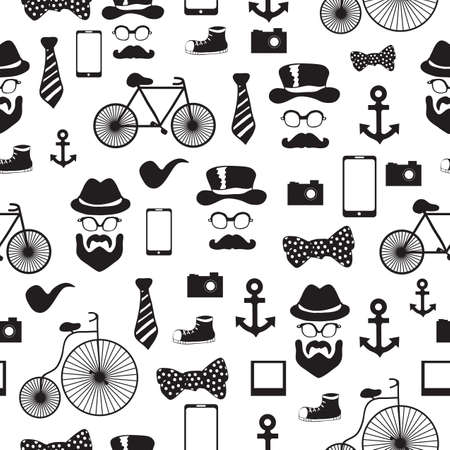 Seamless vector pattern in hipster style background or texture for design Vector