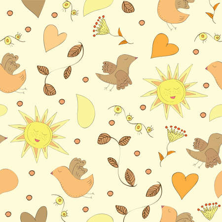 Spring doodles set with flowers, sun, birds - Seamless pattern Vector