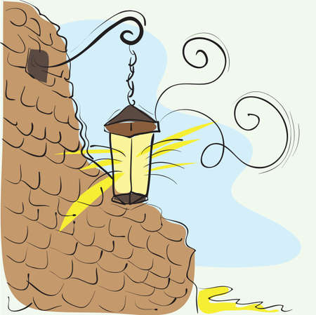 Old Lantern On The Wall - vector hand-drawn illustration Vector