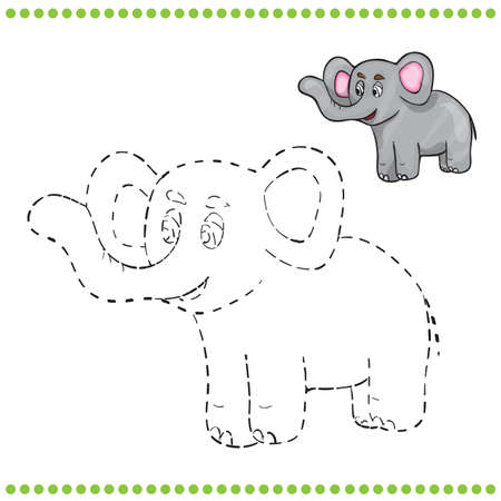 Connect the dots and coloring page - elephant Stock Illustratie