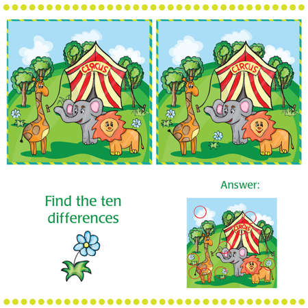 Find differences between the two images with animals and circus