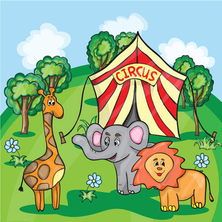 Bright cartoon illustration for children with the image of circus animals Vector