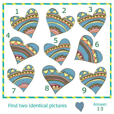 Find two identical pictures of vector hearts