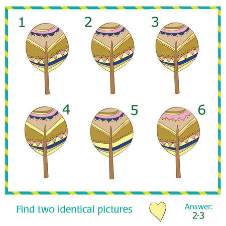 identical: Find two identical pictures with trees - Vector Illustration