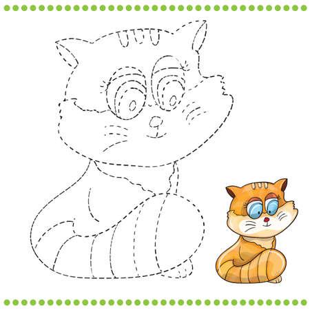 rey caricatura: Une los puntos y p�gina para colorear - gato