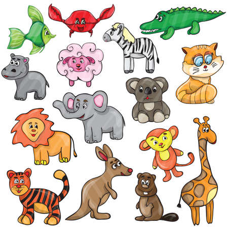 Vector illustration with cute animals - cartoon set Vector