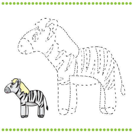 Connect the dots and coloring page - zebra Vector