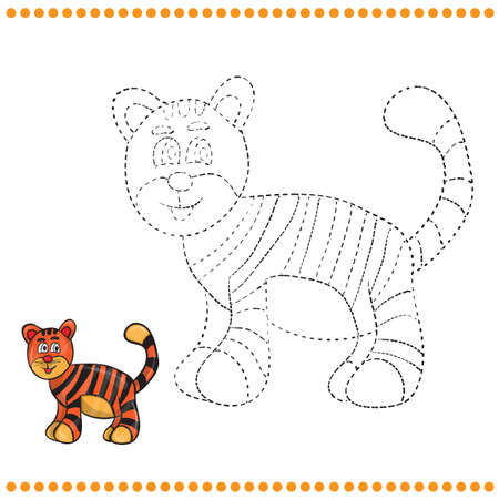 tiger page: Connect the dots and coloring page - tiger