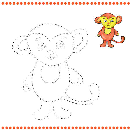 jugglery: Connect the dots and coloring page - monkey