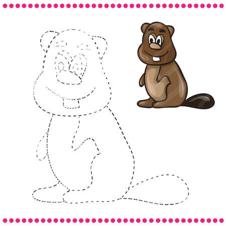 Connect the dots and coloring page - beaver Vector