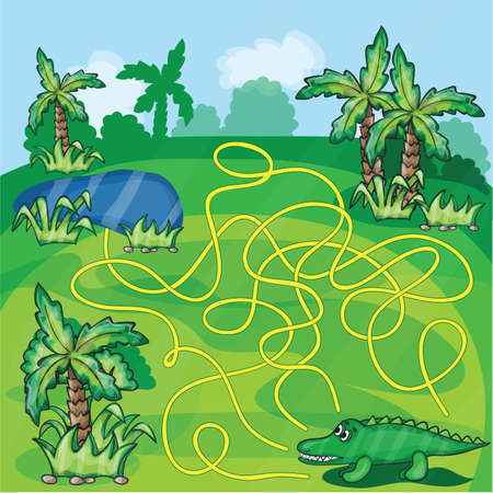 Maze game - Help the crocodile to find a way to the lake Illustration