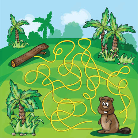 kids having fun: Labyrinth maze for kids - help the beaver find a way - game vector illustration Illustration