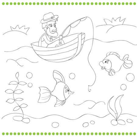 Pescador De Dibujos Animados Con Ilustración De Varilla Y Peces ...