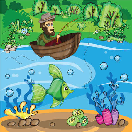 Fisherman catching the fish - Vector cartoon illustration Vector