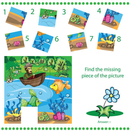 Find missing piece - Fisherman catching the fish - Puzzle game for Children Vector
