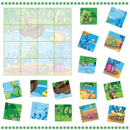 pecheur: Jigsaw Jeu de puzzle pour enfants - P�cheur capture du poisson