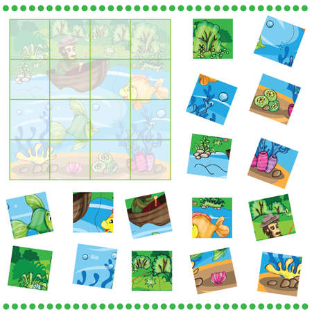 fisherman boat: Jigsaw Puzzle game for Children - Fisherman catching the fish Illustration