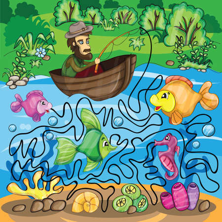 Fisherman Maze Game - bright funny vector illustration Иллюстрация