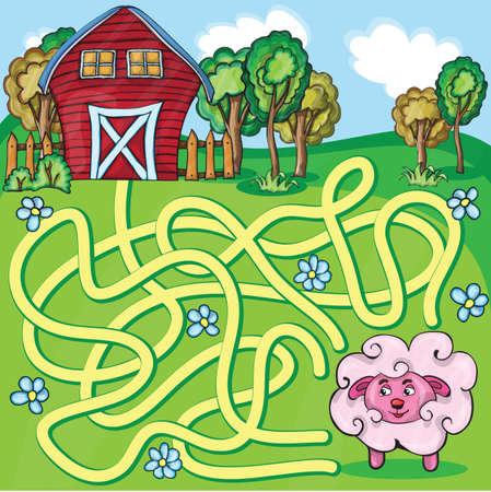 maze game: Vector Maze Game with funny cartoon Sheep