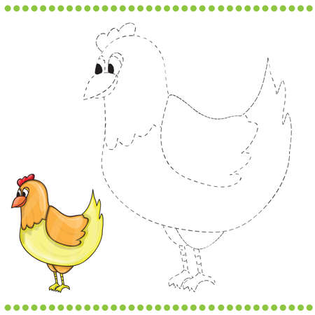 Connect the dots and coloring page of funny farm chicken Vector