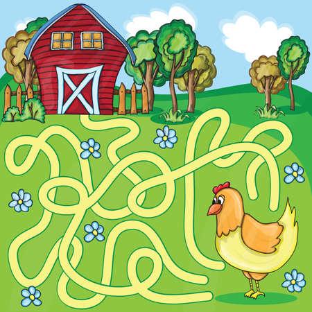 pollo caricatura: Divertido juego de laberinto - Cartoon Chicken Farm Estilo - vector Ilustraci�n Vectores