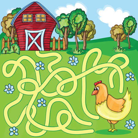 Funny Maze Game -  Cartoon Chicken Farm Style - vector Illustration