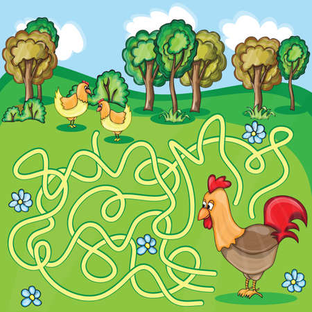 rout: Funny Maze Game -  Cartoon Chicken Farm Style - vector Illustration