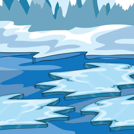 Iceland - Cartoon Vector Illustration - ice floes in the ocean