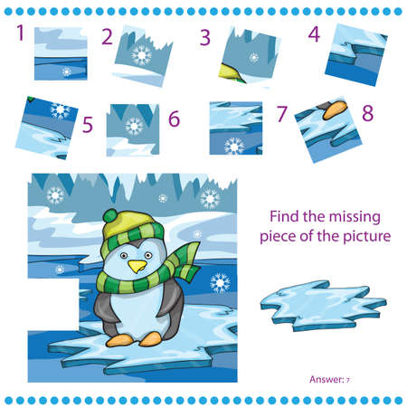 missing piece: Find missing piece for Children with funny penguin on ice background - Vector illustration