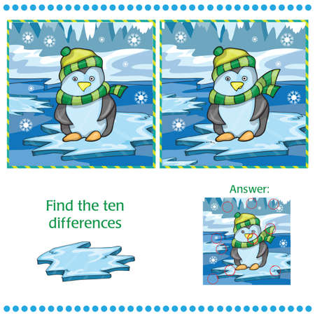 Find differences between the two images - penguin on ice background - Vector illustration