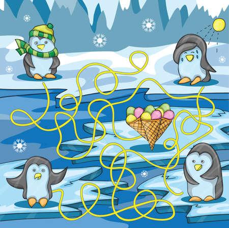 Cartoon ilustración vectorial de Educación Maze con Pingüino divertido y helado Vectores