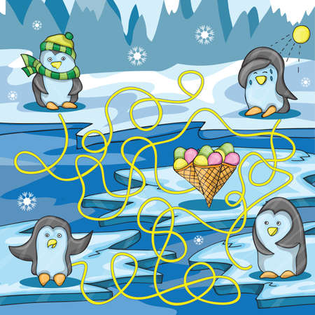 Cartoon Vector Illustration of Education Maze with Funny Penguin and ice cream Çizim