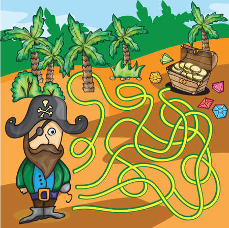 labyrinth: Vector Maze Game - Funny Pirate Try to Find Treasure Box in the desert Illustration