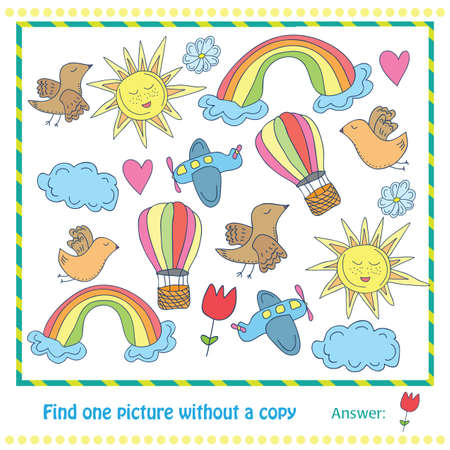 Vector Illustration - Educational Game for Children - find picture withuot copy