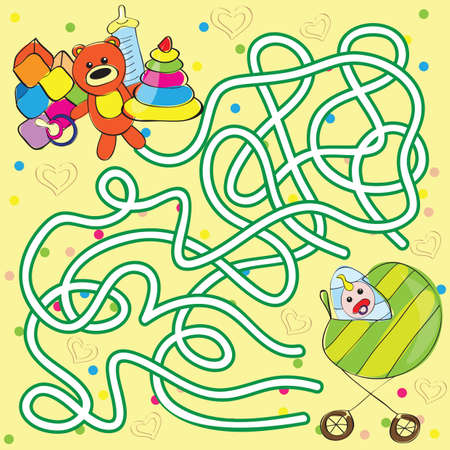 Vector maze for kids - help the baby to get toys Illustration