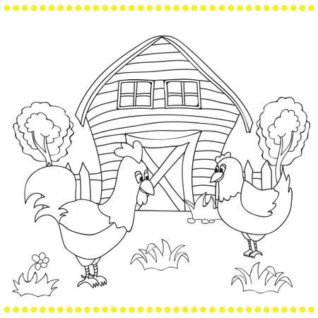 free illustration: Rooster and chickens on the bacgroung of rural farm landscape - coloring book