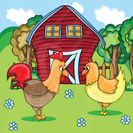 free range: Rooster and chickens on the bacgroung of rural farm landscape Illustration