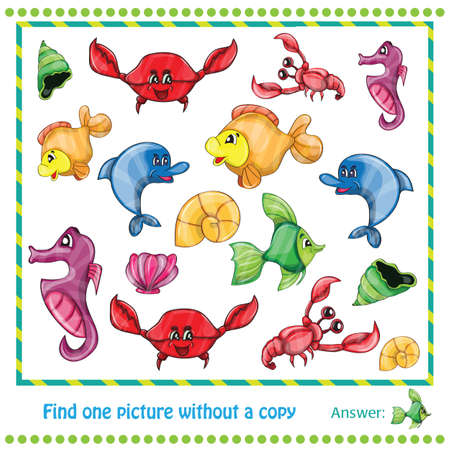 Vector Illustration - Educational Game for Children - find picture without copy